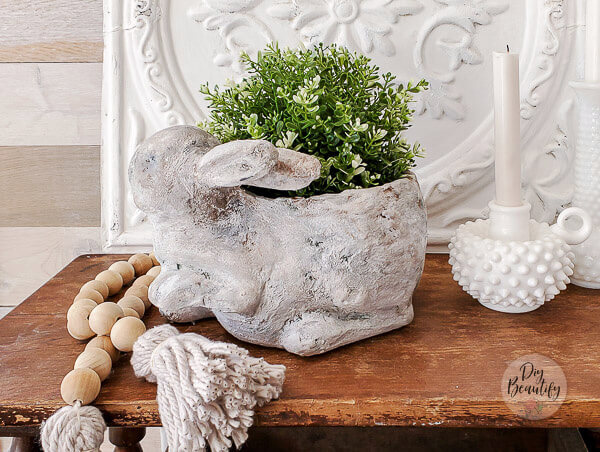 finished faux stone bunny planter