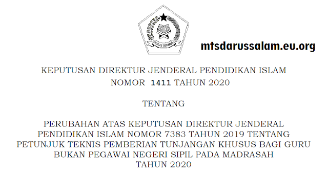 Revisi Juknis Tunjangan Khusus Bagi GBPNS pada Madrasah Tahun 2020