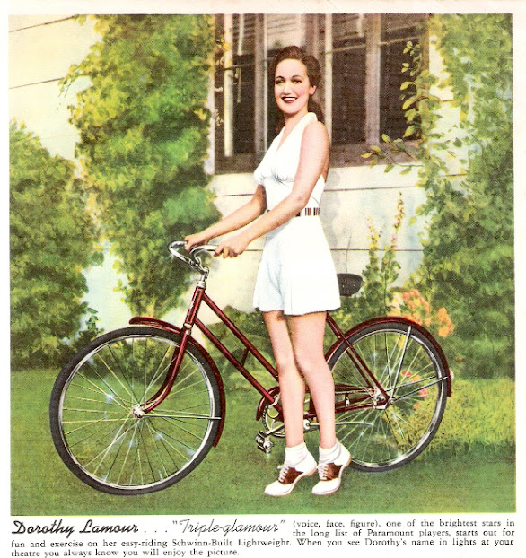 1940s movie star with bicycle