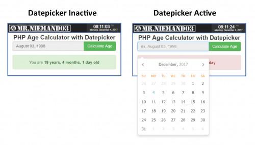 Age Calculator with Datepicker (PHP)