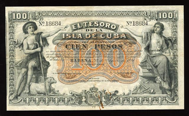 Cuba banknotes Pesos 100 Dollars US Treasury Note