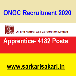 ONGC has released a recruitment notification for 4182 posts of Apprentice. Interested candidates may check the vacancy details and apply online from 29/07/2020 to 17/08/2020.