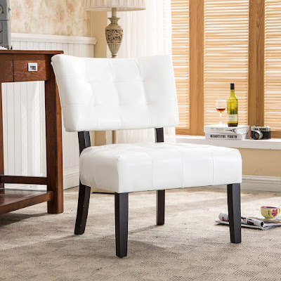 blended leather tufted accent chair