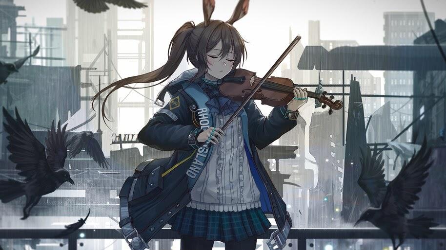 Anime, Girl, Violen, Playing, Arknights, Amiya, 4K, #6.1796