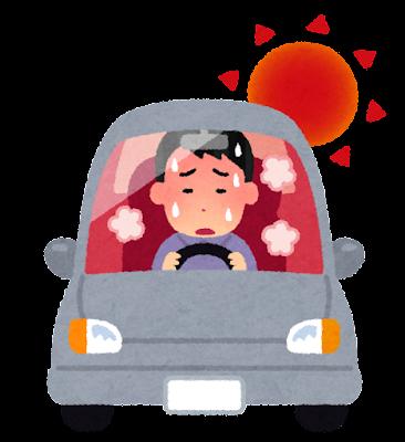 運転中に暑い人のイラスト