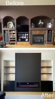 Modern Built In Wall Unit, Designer Edition, Renovation, Silhouette Cameo, Samsung Frame TV, DIY, Interior Design, Cloverdale, Faux Shiplap, Napoleon Allure Electric Fireplace