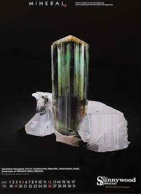 mineral, calendario, turmalina
