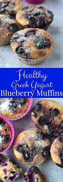 Healthy Greek Yogurt Blueberry Muffins recipe