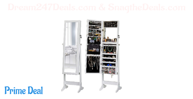 30% OFF  LED Light Jewelry Cabinet Standing Mirror Makeup Lockable Armoire