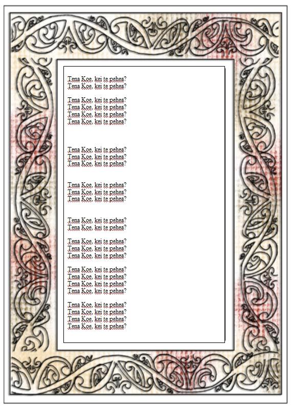 Maori Frames in Word Format Maori Printables - word design frames