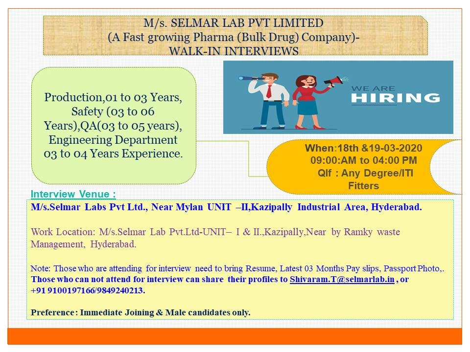 Selmar Lab Pvt. Ltd - Walk-In Interviews for Production | QA | Safety | Engineering Departments on 18th & 19th Mar' 2020