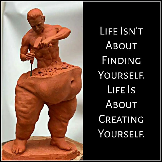 Yellow man statue Life's Ups and Downs Inspirational LessonLife Isn't About Finding Yourself. Life Is About Creating Yourself.