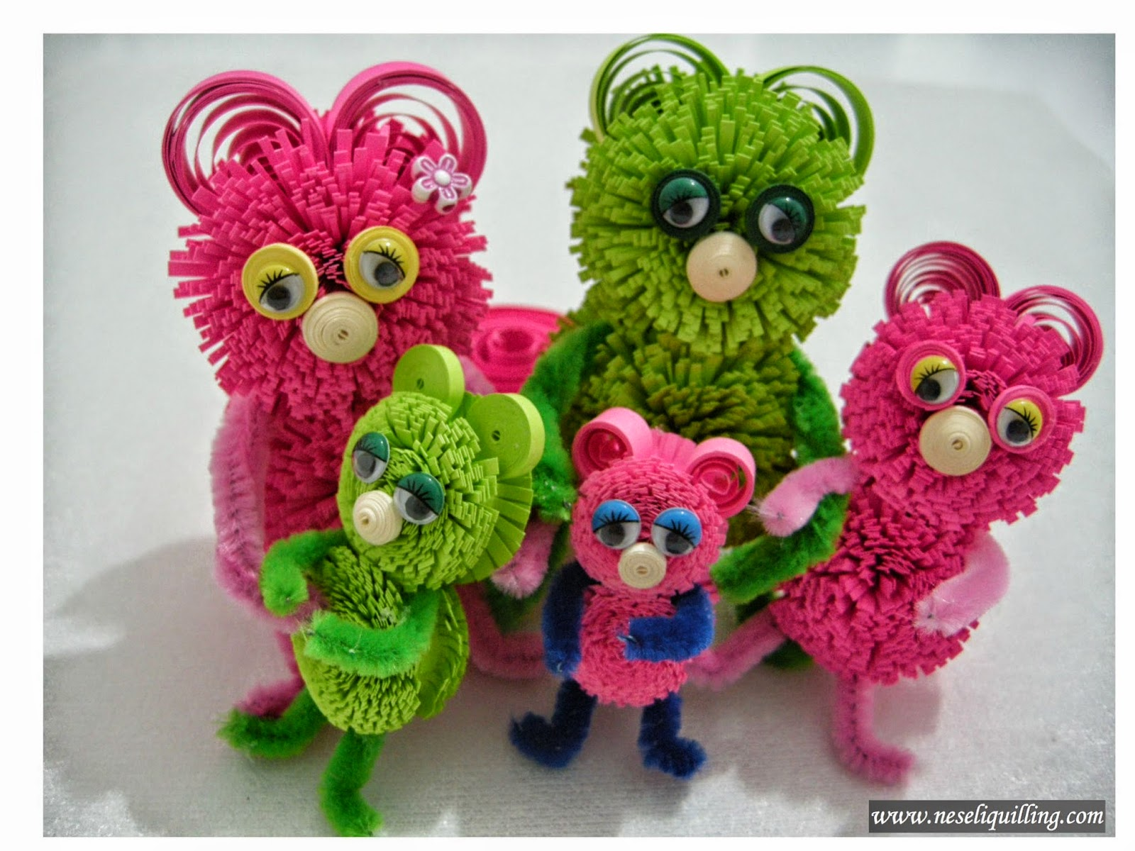 neseli quilling bear family tutorial