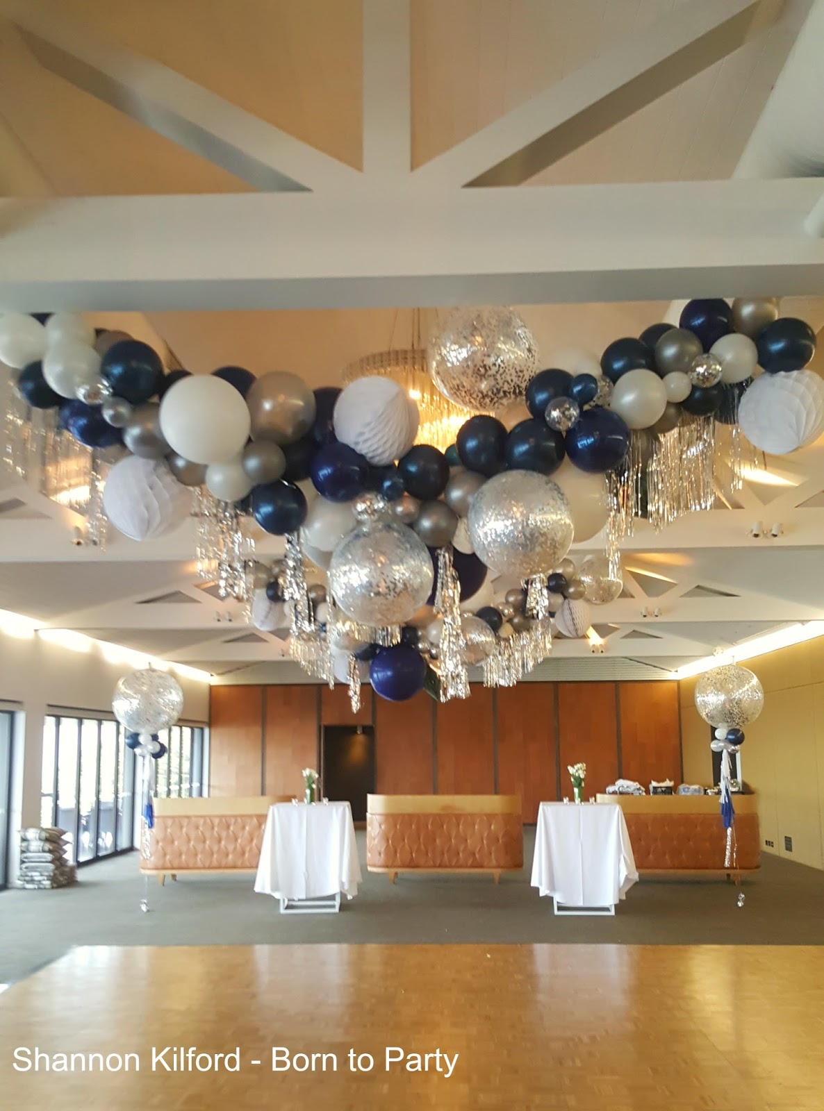 For This Garland We Were Approached To Create A Super Glamorous Embellished In Navy White And Silver Clients 40th Birthday