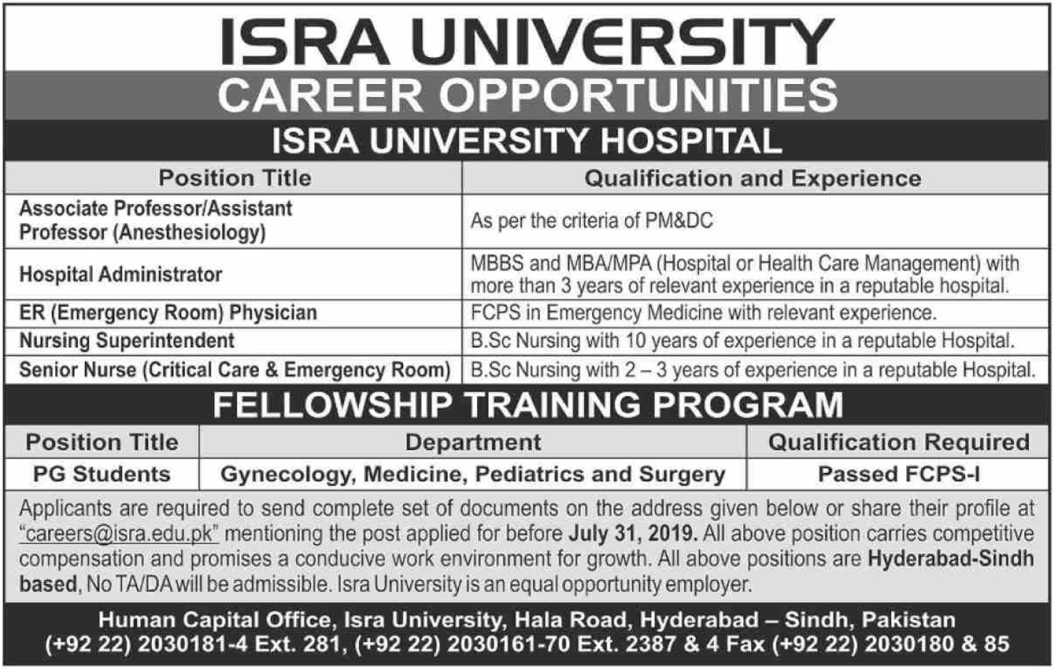 Isra University Hyderabad Jobs 2019 Sindh Latest