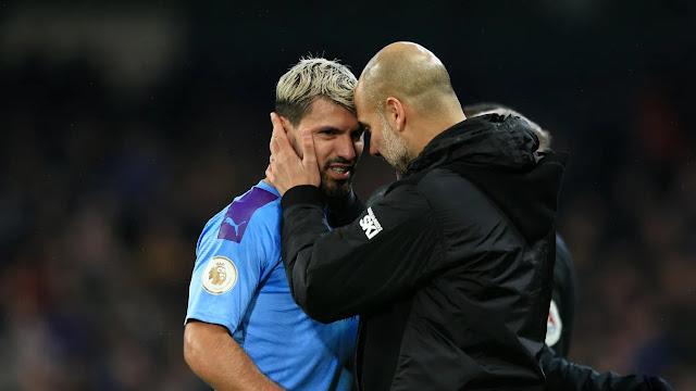 Manchester City forward Sergio Aguero and Pep Guardiola