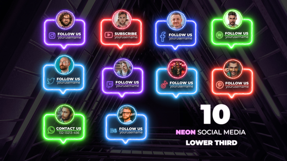 Neon Social Media Lower Thirds ,social media lower thirds premiere pro ,social media lower thirds after effects template free