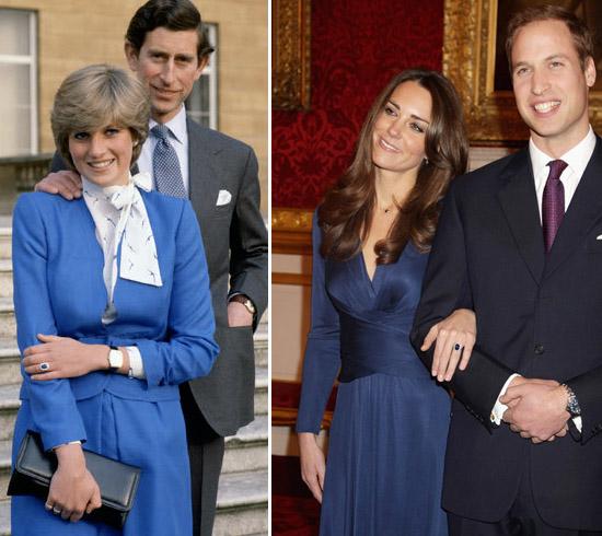 Princesa Diana com vestido azul e Kate com vestido inspirado no da sogra