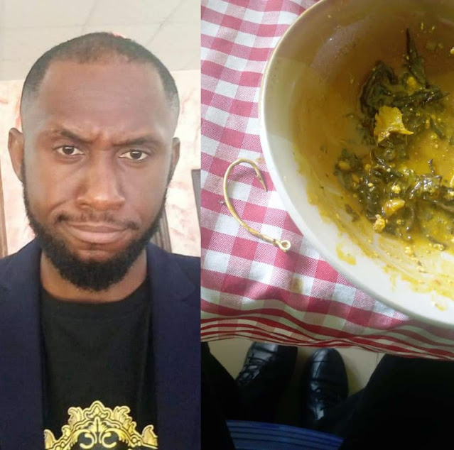 Man cries out on social media after he found Fishing Hook in the soup he was served in a restaurant (Photos)