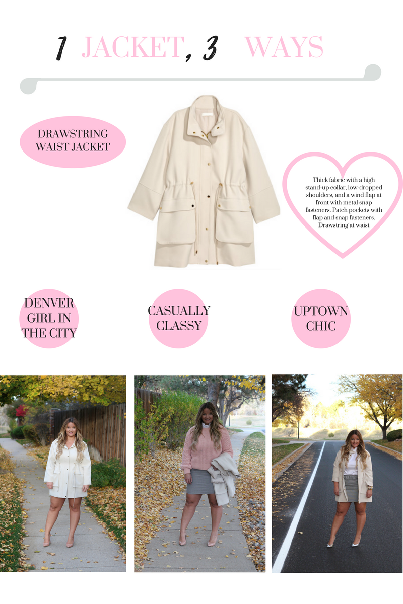 H&M Beige Jacket at The Shops of Northfield Stapleton by fashion blogger Delayna Denaye