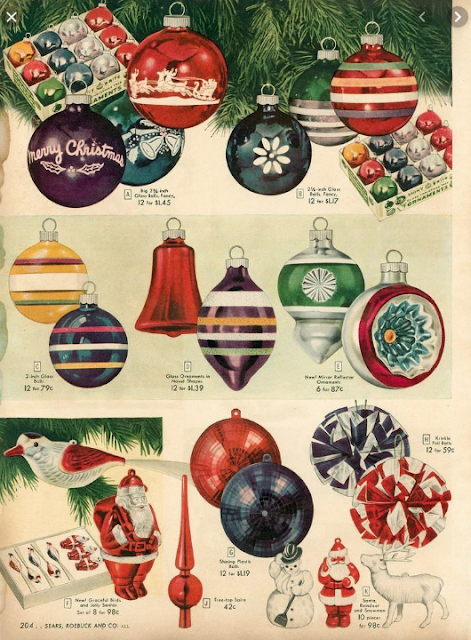 Images from a blog post on The Cavender Diary about Shiny Brite vintage glass ornaments sold by Sears