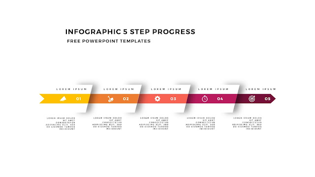 Infographic 5 Step Progress Arrow Diagrams for PowerPoint Template Slide 8