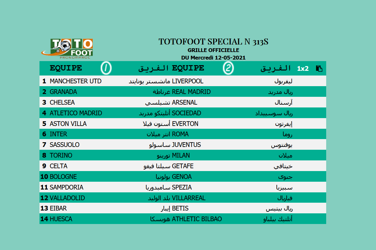 PRONOSTIC TOTOFOOT 14 Spécial N° 313S