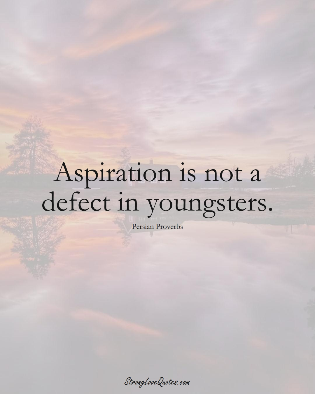 Aspiration is not a defect in youngsters. (Persian Sayings);  #aVarietyofCulturesSayings