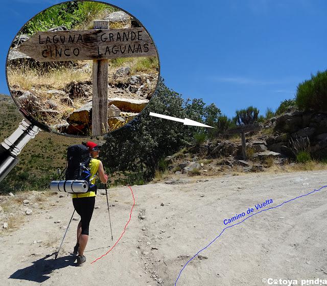 Carteles indicativos en la ruta a las Cinco Lagunas de la Sierra de Gredos.