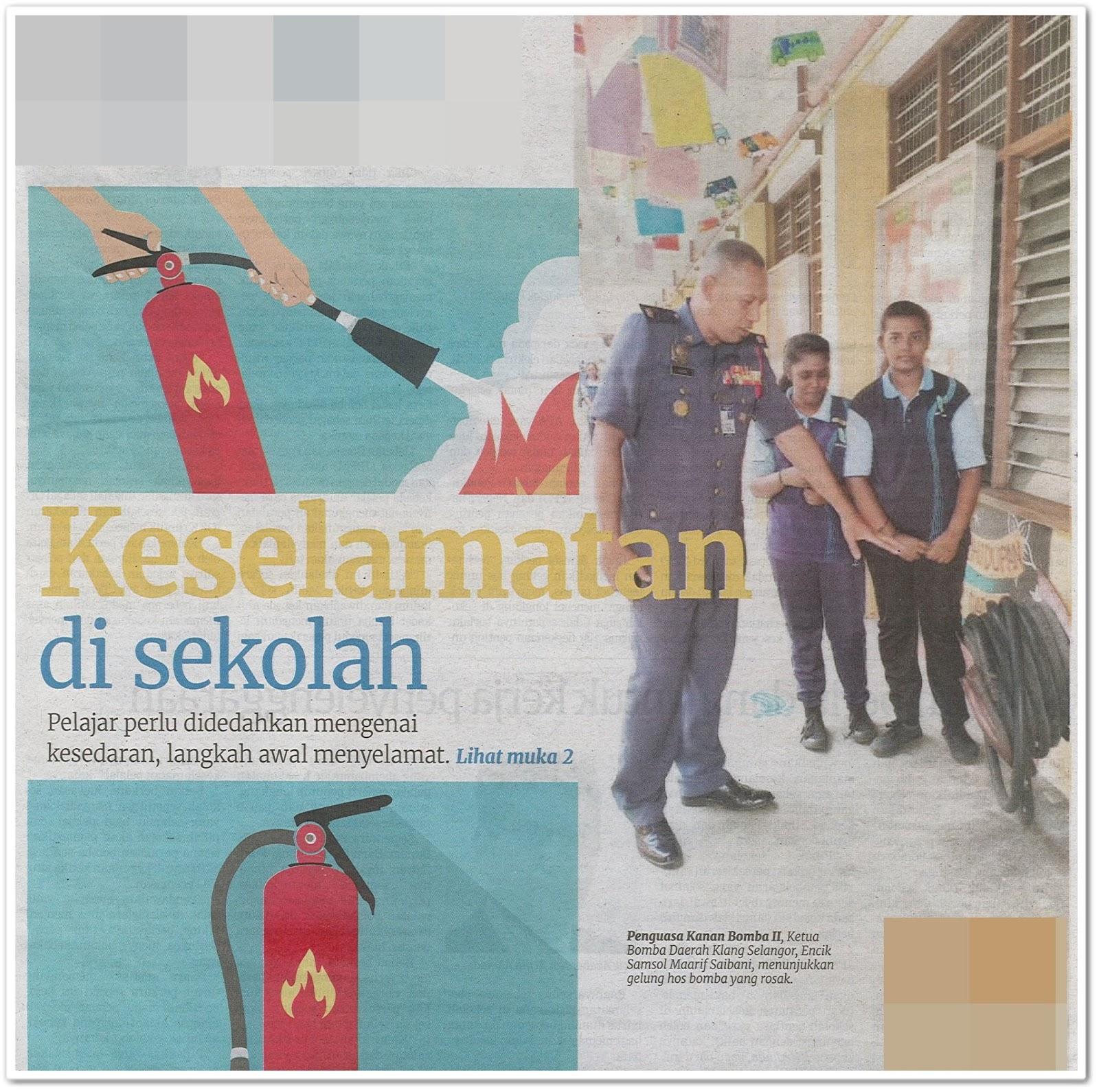 Keselamatan di sekolah - Keratan akhbar Berita Harian 27 Ogos 2019