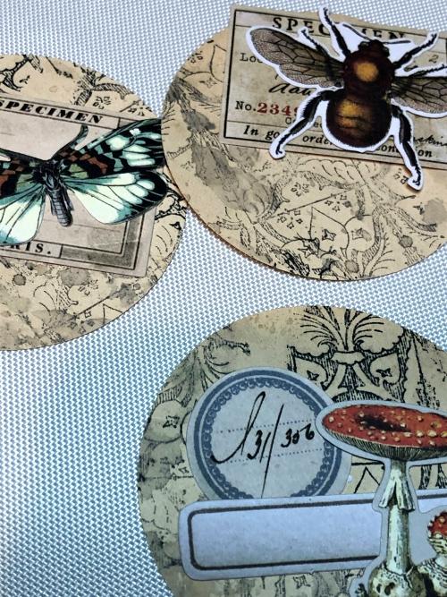 Sara Emily Barker https://sarascloset1.blogspot.com/2020/03/artist-trading-coins-with-tim-holtz.html ATC's Field Notes Distress Embossing Glazes 7