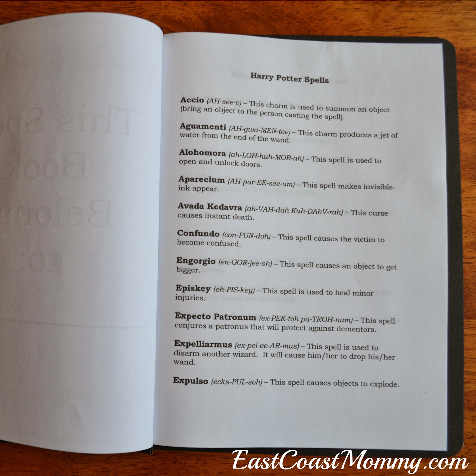 image about Printable Harry Potter Spells titled East Coastline Mommy: Harry Potter Spell Publications and Quills with