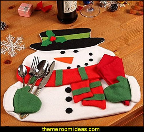 Snowman Christmas Napkin Holding Placemats  christmas kitchen decorations - Christmas table ware - Christmas mugs  - Christmas table decorations - Christmas glass ware - Holiday decor - Christmas dining - christmas entertaining - Christmas Tablecloth - decorating for Christmas - Santa mugs - Christmas Cookie Cutters  - snowman and reindeer kitchen  accessories - red cardinal kitchen decor