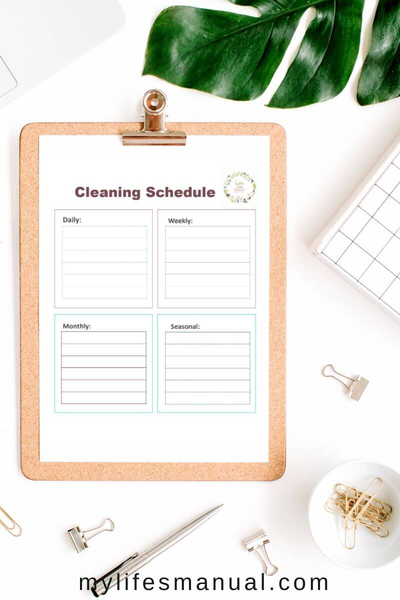 Cleaning schedule free printables