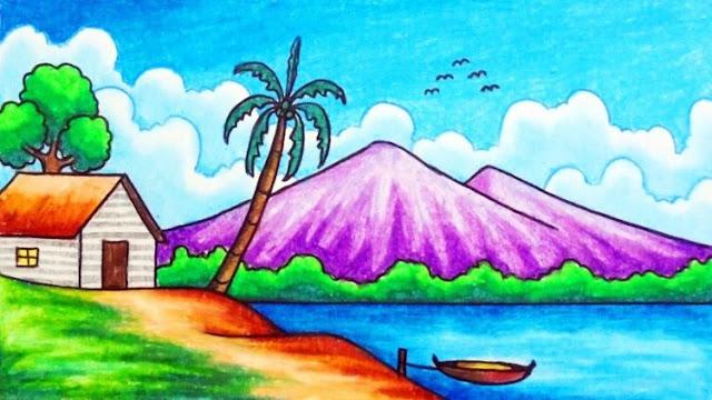 menggambar gunung yang bagus