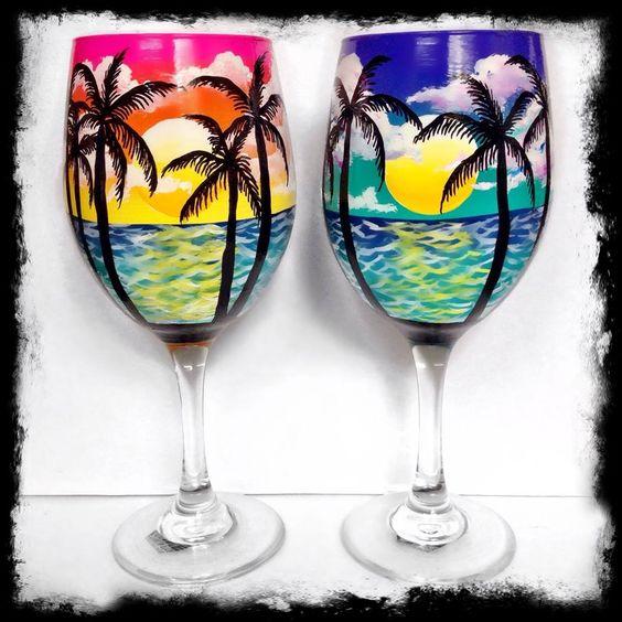 Trees hand painted wine glasses diy