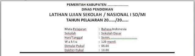 SOAL BAHASA INDONESIA US / UN / TRY OUT 1 KELAS VI / 6 US/M UNTUK UJIAN SEKOLAH / MADRASAH