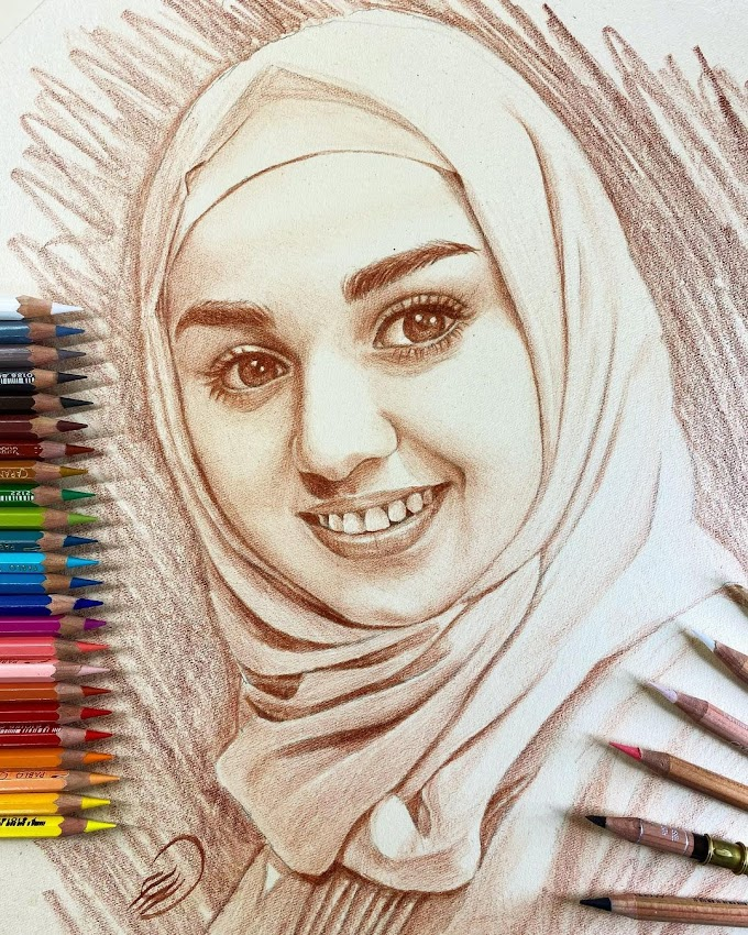 رسومات رائعة بالألوان الخشبية للرسام سعد العاشق