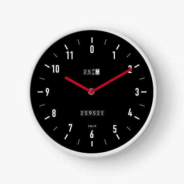 Car speedometer wall clock white