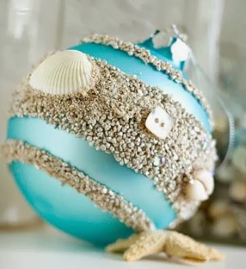 Esfera Navideña Decorada Con Elementos Del Mar