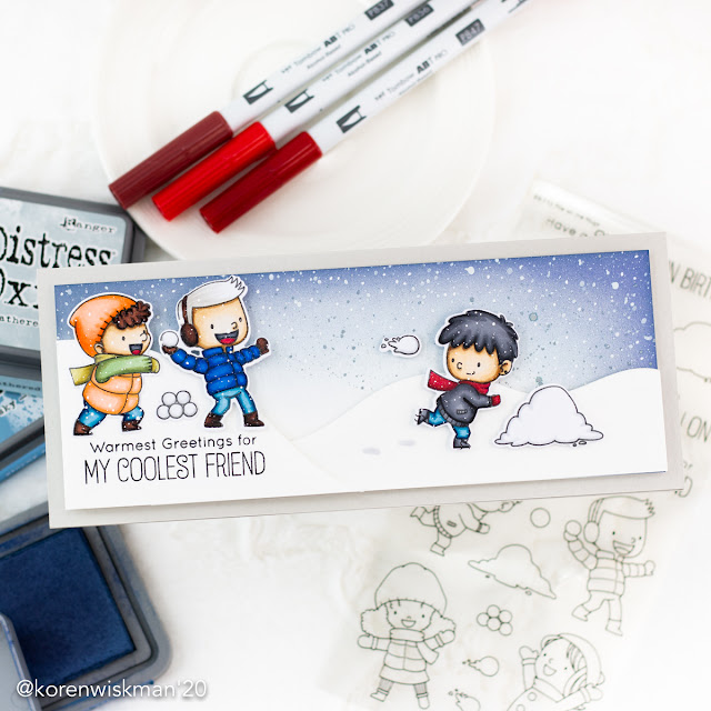 my favorite things, tombow, alcohol markers, card, greeting, mftstamps, ink blending, rangerink, birdie brown, blue, snowball fight, slimline, snow scene, ink splatter, koren wiskman, coloring, kolour map