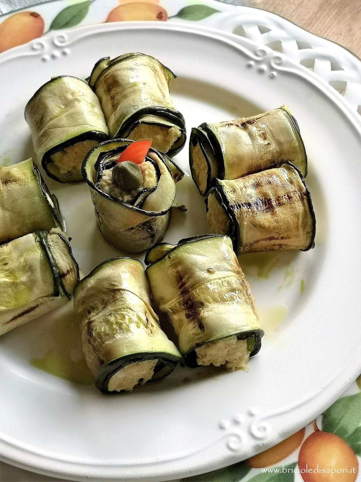 involtini di zucchine grigliate con crema di tonno