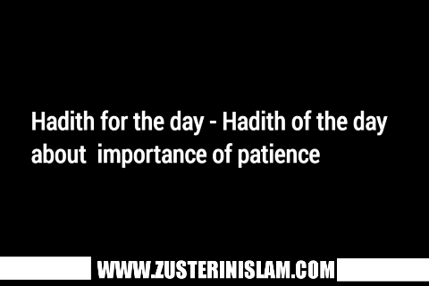 Hadith for the day - Hadith of the day about  importance of patience