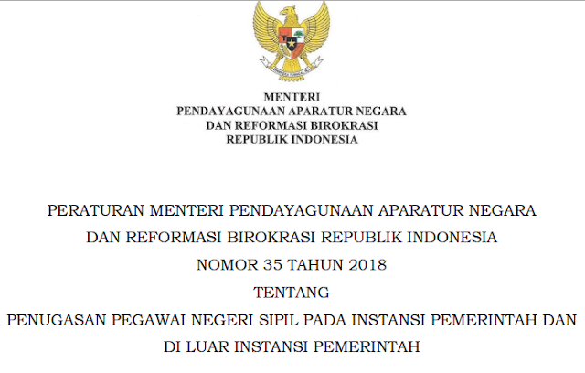 permenpan rb no 35 tahun 2018; penugasan pns; www.tomatalikuang.com