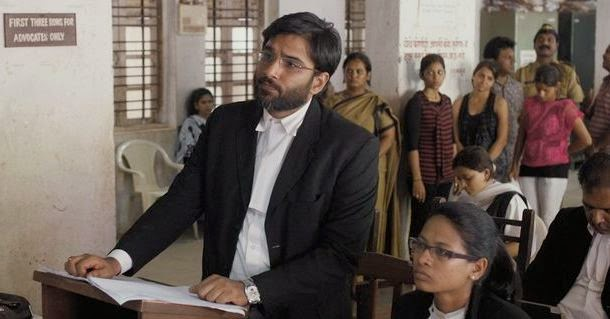 Vivek Gomber as defense lawyer Vinay Vora, in Court, Directed by Chaitanya Tamhane