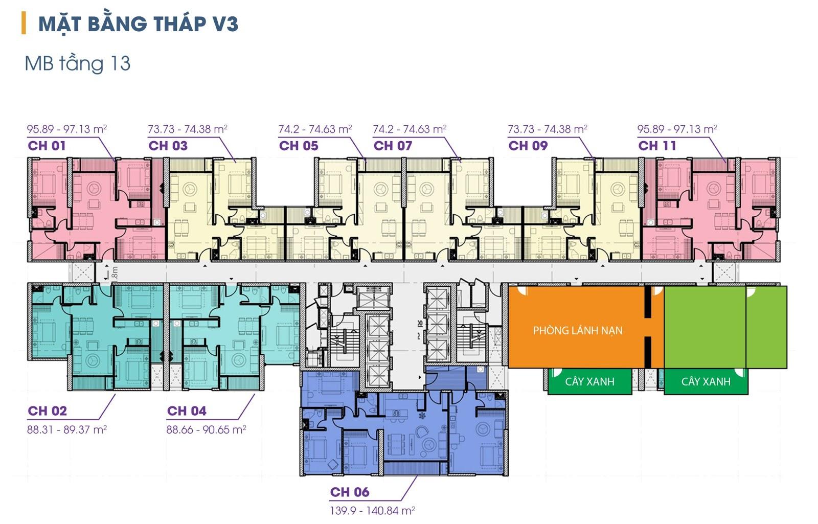 Mặt bằng tầng 13 tòa V3 chung cư The Terra An Hưng