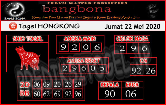 Prediksi Togel Hongkong Jumat 22 Mei 2020 - Bang Bona
