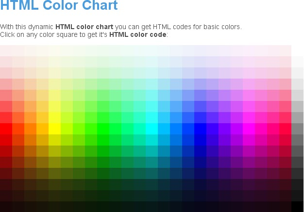 Sample Html Color Code Chart Html Code For Color It Html Color