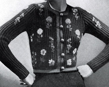 The Vintage Pattern Files : Free 1930's Knitting Pattern - Women's Tyrolean Black Modeen Jacket