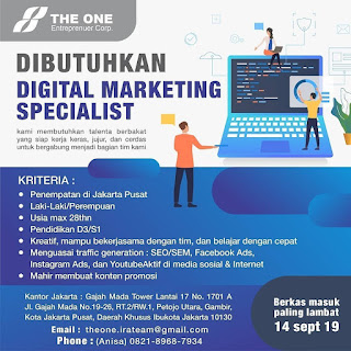 Info Lowongan Kerja Marketing The One Entrepenuer Jakarta